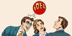 Brainstorming business team concept to develop the idea - stock illustration