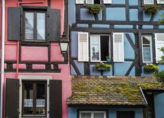 Colourful halftimbered houses Bergheim Alsace France Europe - stock photo