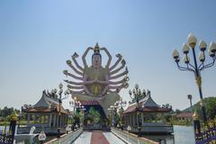 Goddess Avalokiteśvara Wat Laem Suwannaram Temple Ban Bo Phut Ko Samui Stock Photos