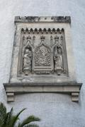 Sandstone relief Dicker Turm tower municipal coat of arms with Maria and - stock photo