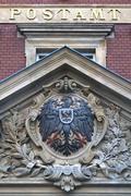 Stock Photo of Imperial eagle on gable post office 1887 Gorlitz Upper Lusatia Saxony Germany