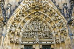 Relief on the entrance gate to the St Vitus Cathedral Prague castle Prague - stock photo