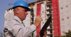 Project Manager Checking Clipboard Wrong Building Plan Disappointed Engineer Stock Footage
