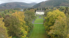Aerial shot of Traquair house in Innerleithen in the Scottish Borders Stock Footage