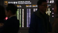 Flight information in Korean and English language on a timetable of Jeju island Stock Footage