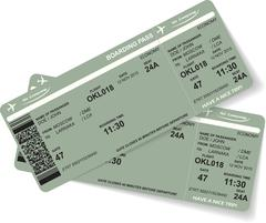 Stock Illustration of Pattern of two airline boarding pass ticket