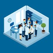 Clinic Personnel Concept - stock illustration