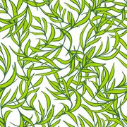 Natural leaves vector seamless pattern. Hand drawn tree branches. Ink doodle - stock illustration