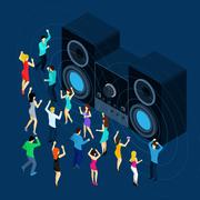 Dancing Men And Women - stock illustration