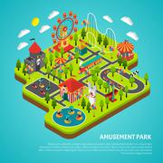 Amusement Park Attractions Fairground Isometric Banner - stock illustration