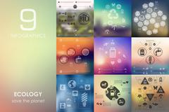 Ecology infographic with unfocused background Stock Illustration