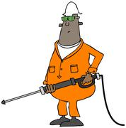 Worker using a pressure wand Stock Illustration