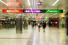 People Waking In Tunnel Underground Metro For Subway Station Transfer Stock Photos