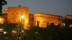 Torre del Pretorio romana in night time - stock footage