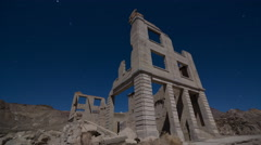 A night time-lapse in Rhyolite Ghost Town. Stock Footage