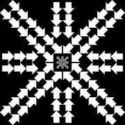 Stock Illustration of Pattern with arrows in snowflake form on black background