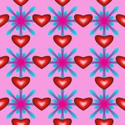 Seamless pattern with hearts and flowers on pink background - stock illustration
