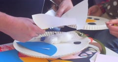 Educator's Hands Man is Cutting a Paper Applique Making a Snowman Childish Stock Footage