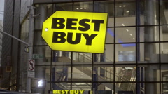 Best Buy sign close-up on 14th street and Union Square, NYC 4K Stock Footage
