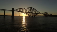 Stunning aerial shot of the Forth Rail Bridge from in South Queenferry Stock Footage