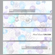 Set of modern banners. Hand drawn floral doodle pattern, abstract vector - stock illustration