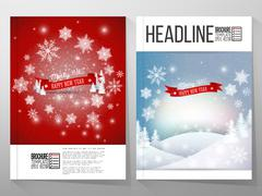 Set of business templates for brochure, flyer or booklet. Merry Christmas and Stock Illustration