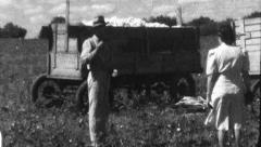 Men Load Cotton in Field Truck Harvest 1930s Vintage Film Home Movie 8807 Stock Footage
