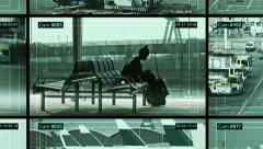 CCTV split screen airport security camera at the International Airport. Stock Footage