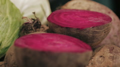 Sliced beets on table Stock Footage