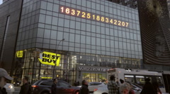 Best Buy Nordstrom Rack stores famous numbers ticker Union Square 4K NYC Stock Footage
