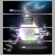 Set of modern banners. Electric lighting effect. Magic vector background with - stock illustration