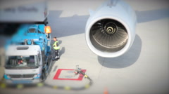 Tanker truck on the aircraft at the airport Stock Footage