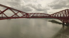 Stunning aerial shot of the Forth Rail Bridge during the day Stock Footage