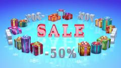 Christmas discounts (dumping,%, percentages, purchase, sale) Stock Footage