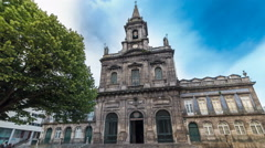 The Trinity Church timelapse hyperlapse in Porto, Portugal. Porto is one of the Stock Footage