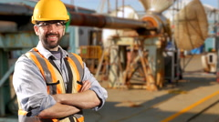 4K Happy Caucasian Construction Worker with Hardhat Helmet Smiling at Camera Stock Footage