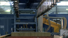 Auto conveyor for production of sandwich panels Stock Footage