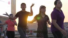 People doing aerobics at olympic stadium,Phnom Penh,Cambodia - stock footage