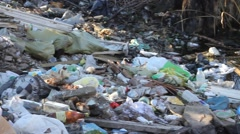 Garbage dump trash nature environmental pollution. virus, epidemic Stock Footage