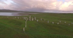 Cinematic aerial shot of Callanish standing stones on the Isle of Lewis - stock footage