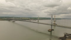 Stunning aerial shot of the Forth Road Bridge during the day in Stock Footage