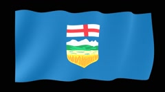 Flag of the Canadian Province of Alberta. Waving (PNG) computer animatie. Stock Footage