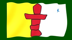 Flag of the Canadian Province of Ca Nunavut. Waving (PNG) computer animatie. Stock Footage
