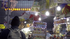 Union Square numbers ticker with food carts and hot dog vendors in NYC 4K - stock footage