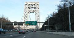 Driving on George Washington Bridge in New York 4K Stock Video Stock Footage