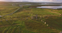 Cinematic aerial shot of Callanish standing stones on the Isle of Lewis Stock Footage