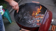 Stock Video Footage of barbeque starting preparing fire grill