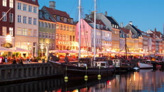 Time Lapse Zoom of Scenic Nyhavn District Day to Night  - Copenhagen Denmark Stock Footage