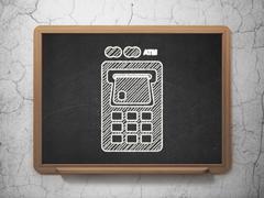 Banking concept: ATM Machine on chalkboard background Stock Illustration
