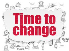Time concept: Time to Change on Torn Paper background - stock illustration